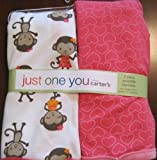 2 Pk. Pink Hearts & Monkey Just One You Carter's Swaddle Blankets