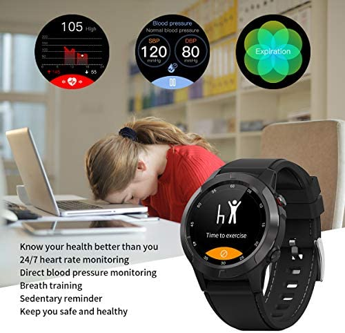Smart Watch for Android Phones iOS, GPS Smartwatch for Men with Heart Rate and BP Monitor, Pedometer, Text Call Notification, Compass, Barometer, Altitude, Leather and Rubber Bands, Round Face, 2020 510QSbG2N8L