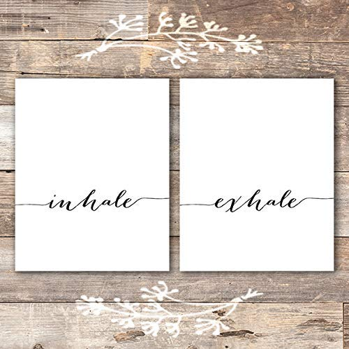Inhale Exhale Wall Art Prints - (Set of 2) - Unframed - 8x10 | Inspirational Wall Art (Art Wall Inspirational Sets)