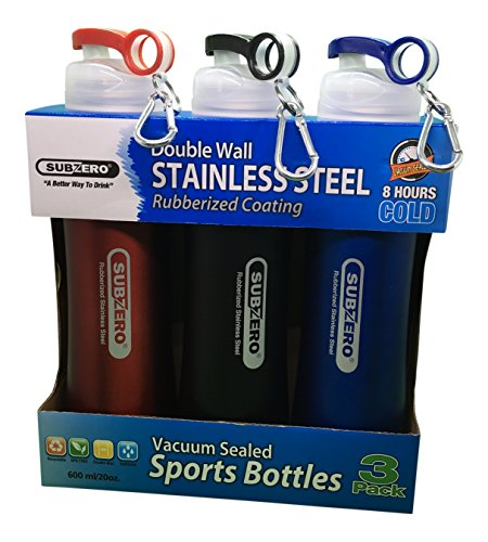 Subzero - 3 Pack - Double Wall Stainless Steel Vacuum Sealed Sports Bottles with Rubberized Coating (Colors May Vary)