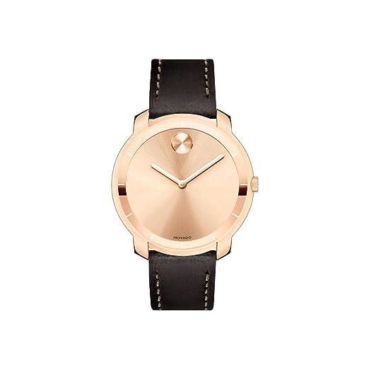 Amazon.com: Movado Bold oro rosa Dial reloj de piel para ...