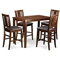 East West Furniture YABU5-MAH-LC 5 Piece Counter Height Pub Table and 4 Kitchen Bar Stool Set
