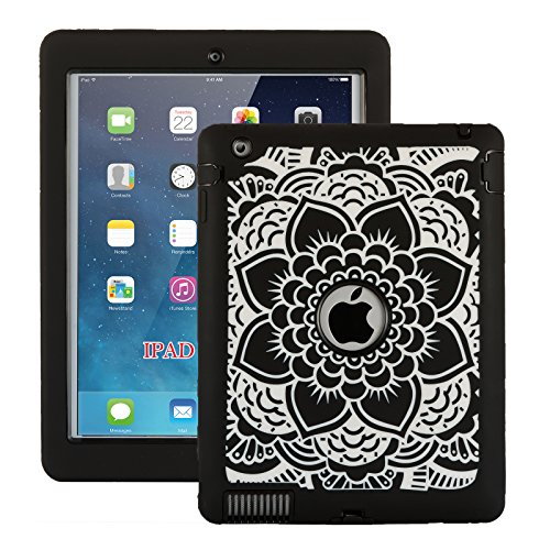 iPad 2 Case, iPad 3 Case, iPad 4 Case, ZERMU Black Flower Design Shock-Absorption Silicone High Impact Resistant Hybrid Three Layer Hard Plastic+Silicone Armor Defender Protective Cover for iPad 2/3/4