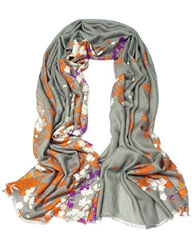 Dahlia Women's Fine Merino Wool Pashmina Scarf (80s) - Winter Jasmine - Gray - Fine Cashmere Yarn