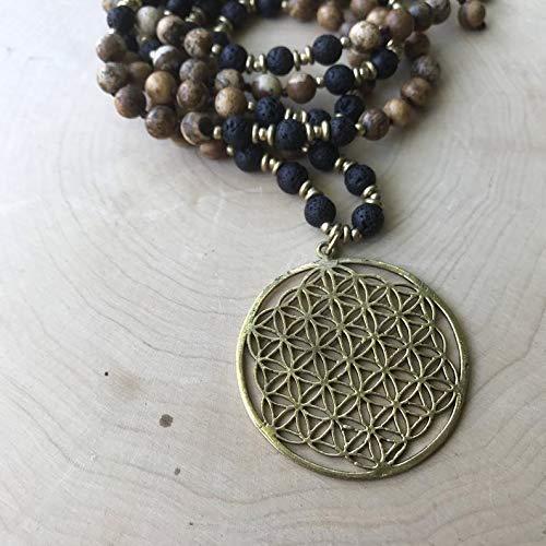 - Yoga Mala Picture Jasper Lava Beads Flower of Life Pendant Pendant Neckalce