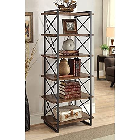 Furniture Of America Collins Industrial Medium Weathered Oak 6 Tier Display  Shelf