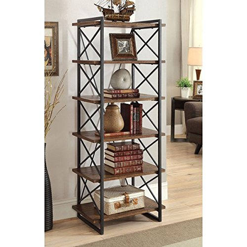 Furniture of America Collins Industrial Medium Weathered Oak 6-tier Display Shelf