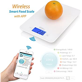 AVLT-Power Wireless Smart Food Scale Digital Kitchen Scale with Nutritional Calculator Application - Auto-Updates From USDA Database for Dieting, 11 pound capacity, Bluetooth