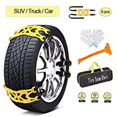 Car Snow Chains Emergency Anti Slip Snow Tire Chains for Most Cars/SUV/Trucks, Winter Universal Security Chains Tire Width 165mm-275mm/6.5-10.8'', Amazing Traction Thickening Durable 6pcs Effectively break down gravity, anti-sideslip, more we...