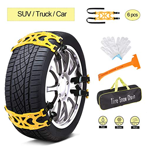 AUTMOR Car Snow Chains Emergency Anti Slip Snow Tire Chains for Most Cars/SUV/Trucks, Winter Universal Security Chains Tire Width 165mm-275mm/6.5-10.8'', Amazing Traction Thickening Durable 6pcs