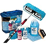 Aero Cosmetics Waterless RV Aircraft Boat Wash Wax Mop Kit with Deluxe Pole, No Ladder Needed, Wash, Wax, Dry, Anywhere, Anyt