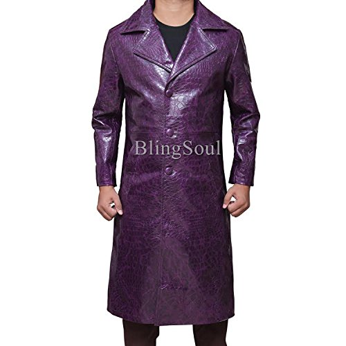 Jared Leto Trench Coat - Long Purple jacket For Mens (L, Purple)