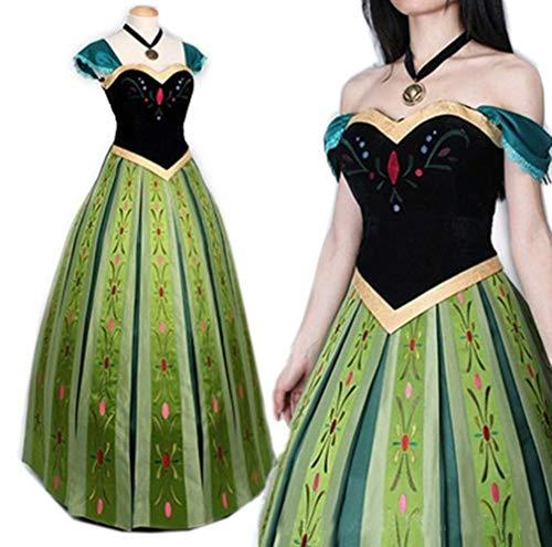 Mordarli Women's Frozen Princess Anna Dress Cosplay Costume Fancy Dress Green