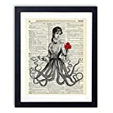 Victorian Octopus Lady With Red Roses Upcycled Wall Art Vintage Dictionary Art Print 8x10 inches / 20.32 x 25.4 cm Unframed