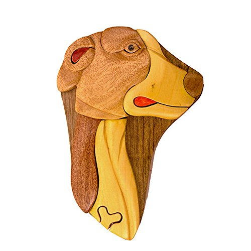 Handmade Wooden Art Intarsia TRICK SECRET Dog Whippet Puppy Puzzle Trinket Box (3506) (g2)