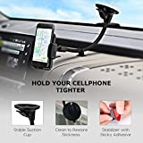 Mpow Cell Phone Holder for Car, Windshield Long Arm Car Phone Mount with One Button Design and Anti-skid Base Car Holder for iPhone X/8/7/7P/6s/6P/5S,Galaxy S5/S6/S7/S8,Google,Huawei