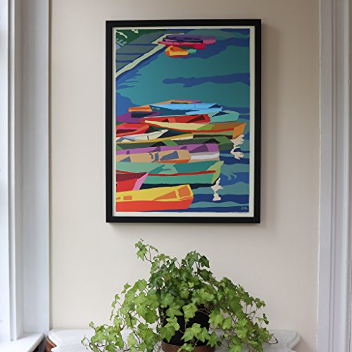 Perkins Cove Dinghies Framed Print (18x24 Giclee Wall Poster, Wall Decor Art) ()