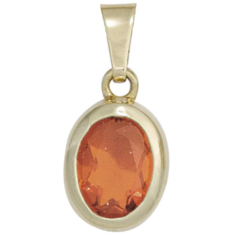 Damen Anhänger oval 585 Gold Gelbgold 1 Feueropal rot Goldanhänger Opalanhänger