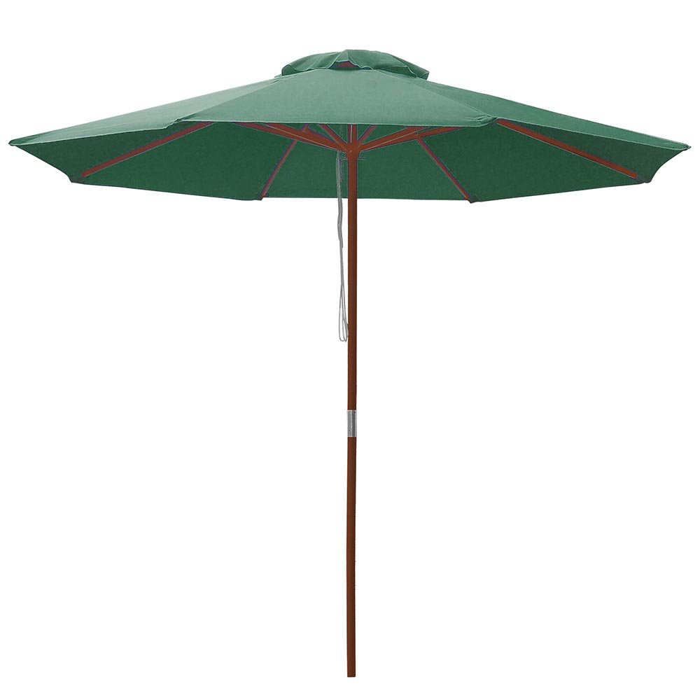 2a54eb5b52 Yescom 9ft Wooden Outdoor Patio Green Umbrella W/Pulley Market Garden Yard  Beach Deck Cafe Decor Sunshade