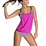 Papaya Wear Womens Stripes Lined Double Up Tankini Two Piece Swimwear Set