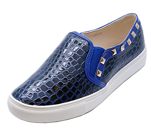 Shoes 8 Trainers Comfy Casual Stud HeelzSoHigh Flat Flat Ladies Slip Sizes Plimsoll Pumps On 3 Loafers Navy qFaOFPU