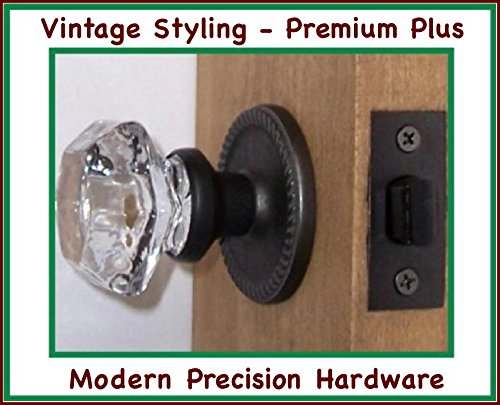 (Perfect Reproduction Six Point Princess Old Town 24% Lead Crystal Interior Passage Knob Sets with Oil Rubbed Bronze Over Solid Brass Retrofit Rosettes)