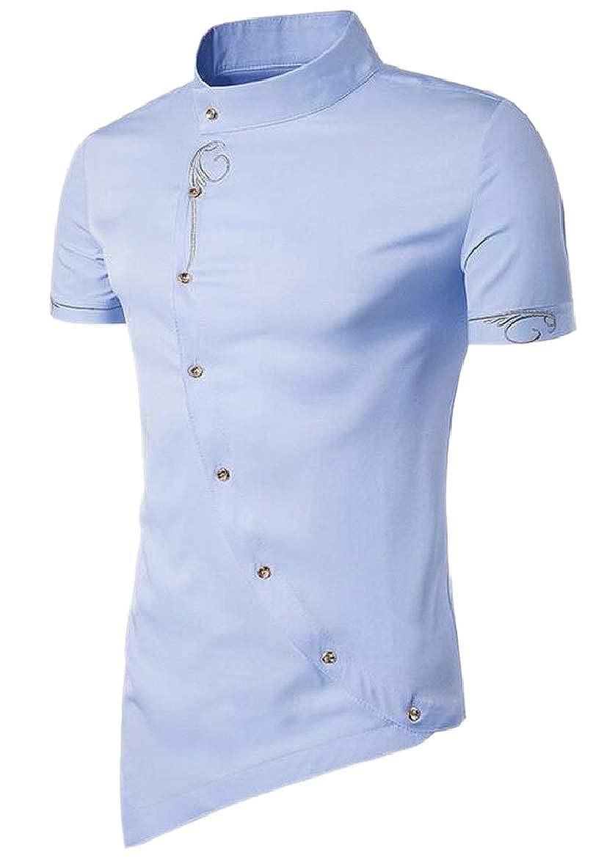 HTOOHTOOH Mens Asymmetric Stand Collar Tops Cozy Layered Dress Shirts