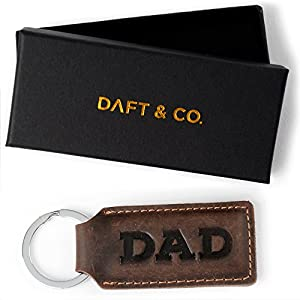 Daft & Co. Premium Genuine Leather Keychain & Gift Box for DAD, PAPA, GRANDPA