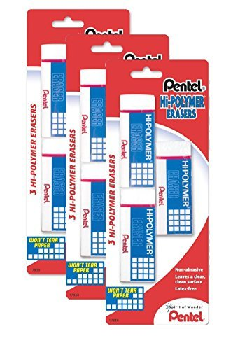 Pentel Hi-Polymer Block Eraser, Large, Pack of 9