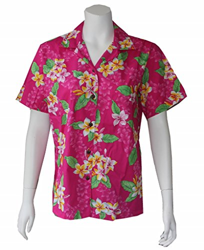 Alohawears Clothing Company Made in Hawaii ! Womens Plumeria Flowers Hawaiian Aloha Camp Shirt