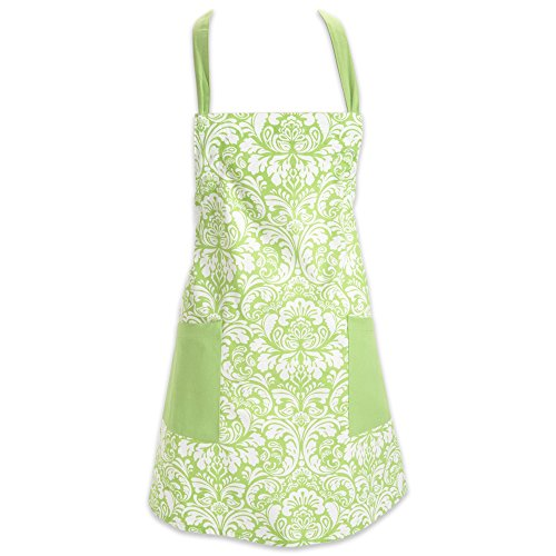 DII Cotton Adjusatble Women Kitchen Apron with Pockets and Extra Long Ties, 37.5 x 29, Cute Apron for Cooking, Baking, Gardening, Crafting, BBQ-Damask Fresh Green