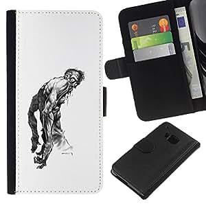 All Phone Most Case / Oferta Especial Cáscara Funda de cuero Monedero Cubierta de proteccion Caso / Wallet Case for HTC One M9 // Zombie Art Drawing Tattoo