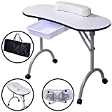 Portable Manicure Nail Table Station Desk Spa Beauty Salon Equipment White Super-comfy wrist cushions Durable plastic drawer for accessories