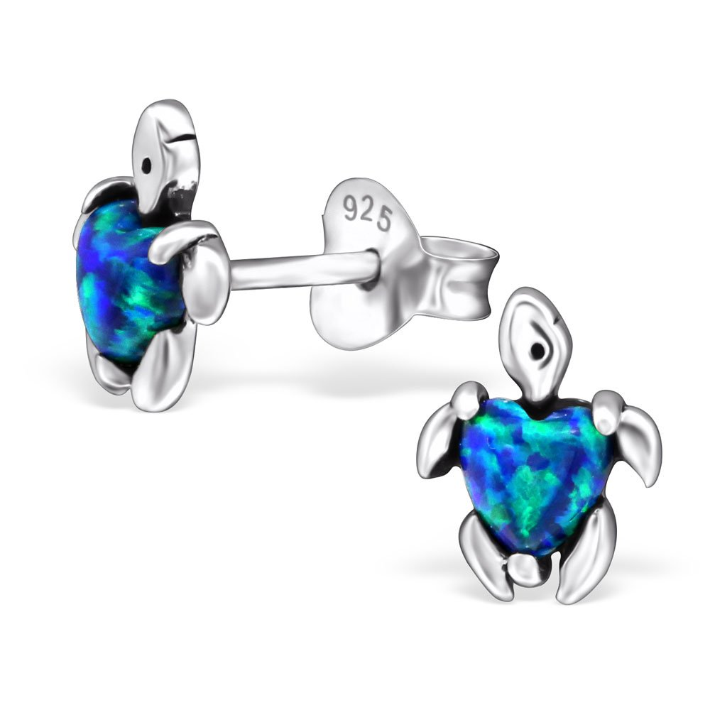 Hypoallergenic Turtle Stud Earrings for Girls (Nickel Free and Safe for Sensitive Ears) - Peacock