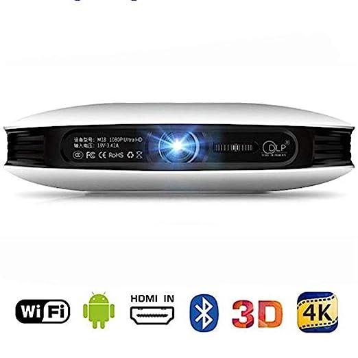MNJR Proyector Proyector de 2.4G WiFi, 1080p 3D 4K DLP Home Cinema ...
