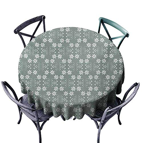 (Restaurant Tablecloth Garden Artistic Baroque Style Inspired Delicate Daisy Flower Petals and Dots Pale Sage Green White Excellent Durability)