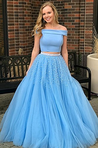 a5f71bb64f ... 2 Piece Prom Dresses Pearl Beaded Off Shoulder Evening Dress for Women  Pink US 10.   
