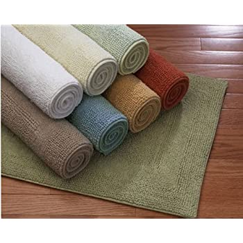 This Item Home Source 20106SMN01 100 Percent Cotton Reversible Cotton Bath  Rug Small   Ivory