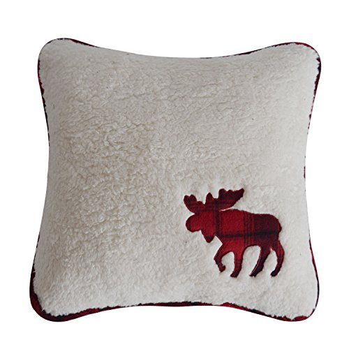 X.Sem Soft Sherpa Cushion Covers Reindeer Applique Embroidey Pillow Case with Plaid Backing 18''