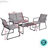 SKEMiDEX--- 4PCS Furniture Set Outdoor Patio Conversation Tempered Glass Table Chairs Steel It will decorate your outdoor environments and bright our backyard. Lovely coffee table perfects for sun.