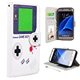 RusseryPek Galaxy S7 Case, Samsung Galaxy S7 Wallet Case, Premium PU Leather Wristlet Flip Case Cover with Card Slots & Stand for Galaxy S7 - Gameboy