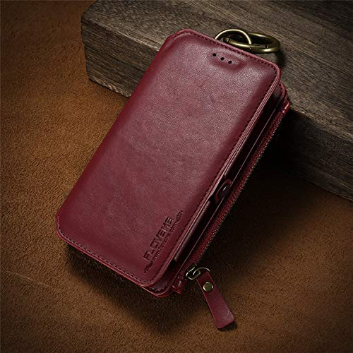 Luxury Retro Wallet Phone Case iPhone X XS 5.8 inch. Leather Handbag Bag Cover iPhone X Xs (Red)