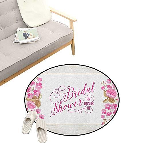 - Bridal Shower Kids Round Rug ,Celebration Bride Party Card Inspired Floral Leaves Frame Image, Sofa Living Room Bedroom Modern Home Decor 39