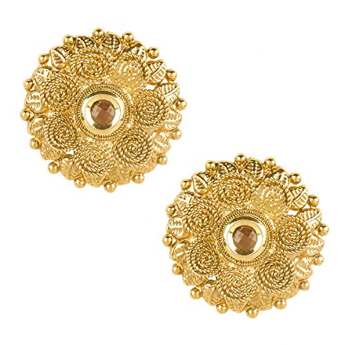 (Bodha 22K Bollywood Traditional Indian Kundan Coin Gold Stud Earrings For Women (SJ_1432))