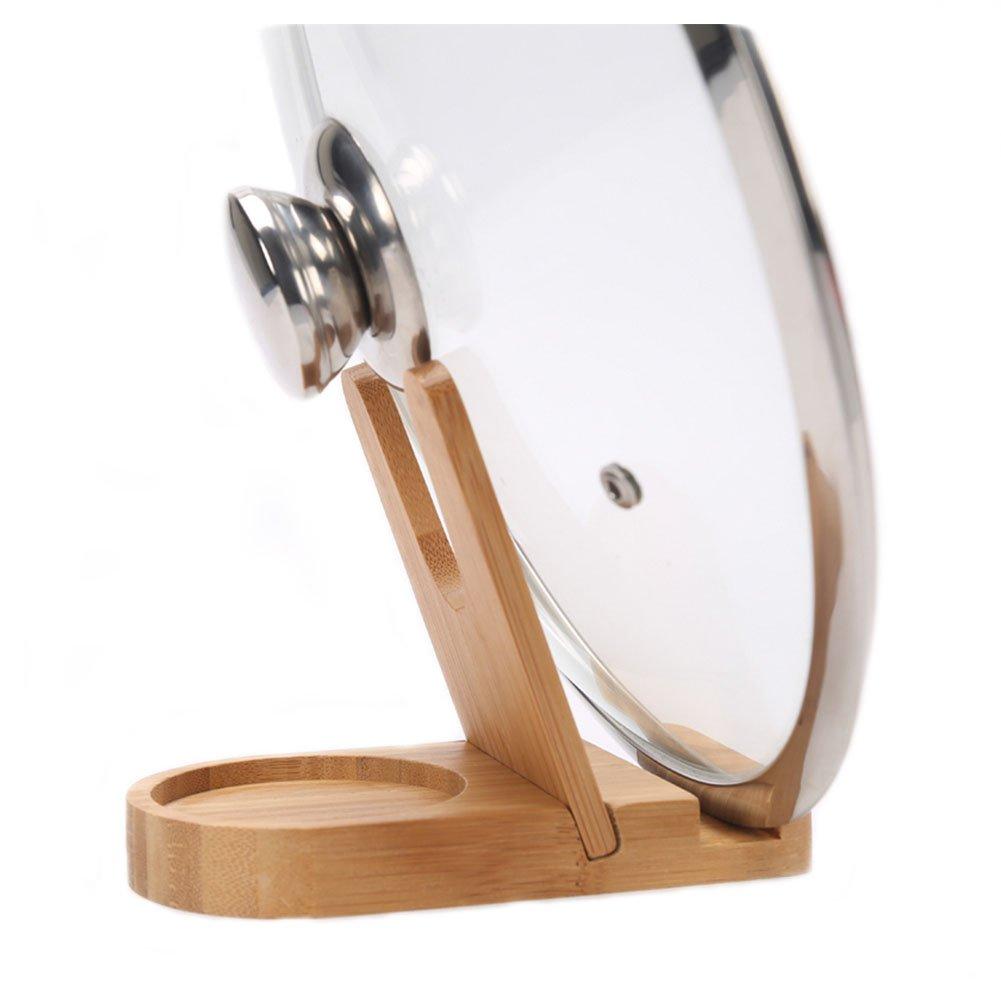 HaloVa Pot Lid Holder, Premium Bamboo Pan Pot Cover Lid Rack, Anti-corrosion Nondeformation Multi-purpose Detachable Pan Lid Rack Stand with Draining Sink