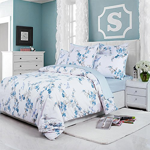 Asian Duvet Cover (Brandream Floral Duvet Quilt Cover Asian Porcelain Style Tree Blossom and Birds Blue and White Watercolor Pattern 300tc Cotton Percale 3pc Bedding Set (Queen,Blue))