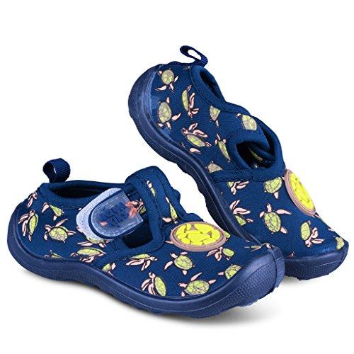 [A202-BLU-T10] Aquakiks Water Aqua Shoes for Boys, Kids Waterproof Sandals, Sea Turtle