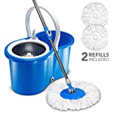 HAPINNEX 360° Spin Magic Mop & Bucket Floor Cleaning System - Easy Stainless Steel Dryer Basket with 2 Washable Microfiber Mop Heads Refill