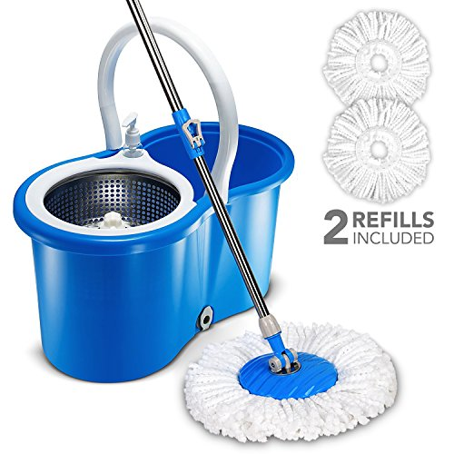 Stainless Steel Deluxe Rolling Spin Mop And Bucket Floor