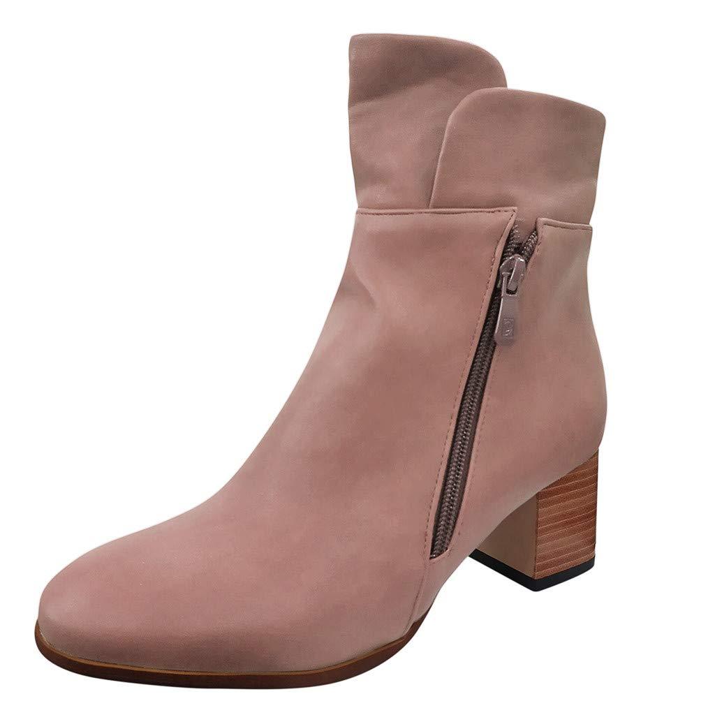SSUPLYMY Damen Leather Stiefel Mode Einfarbig Kurzschaft Stiefel Runder Kopf Square Heel Stiefel Winter Schneestiefel Bequem Knöchel Nackt Stiefel